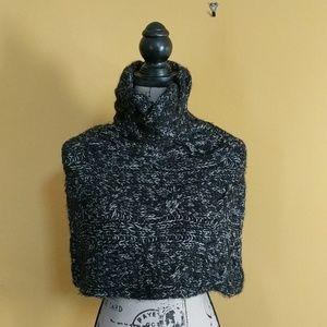 Black and Gray Cableknit Turtleneck Poncho